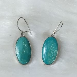 TURQUOISE STERLING SILVER DROP DANGLE EARRINGS